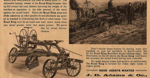 A picture of an old newspaper advert advertising a Road King Grader.
