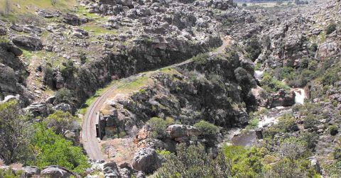 An aerial view down onto Michells Pass in the Breede River Valley.