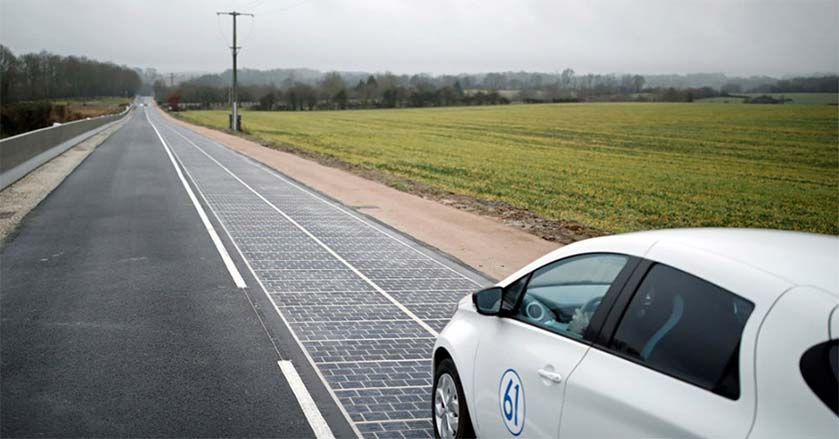 car on solar road